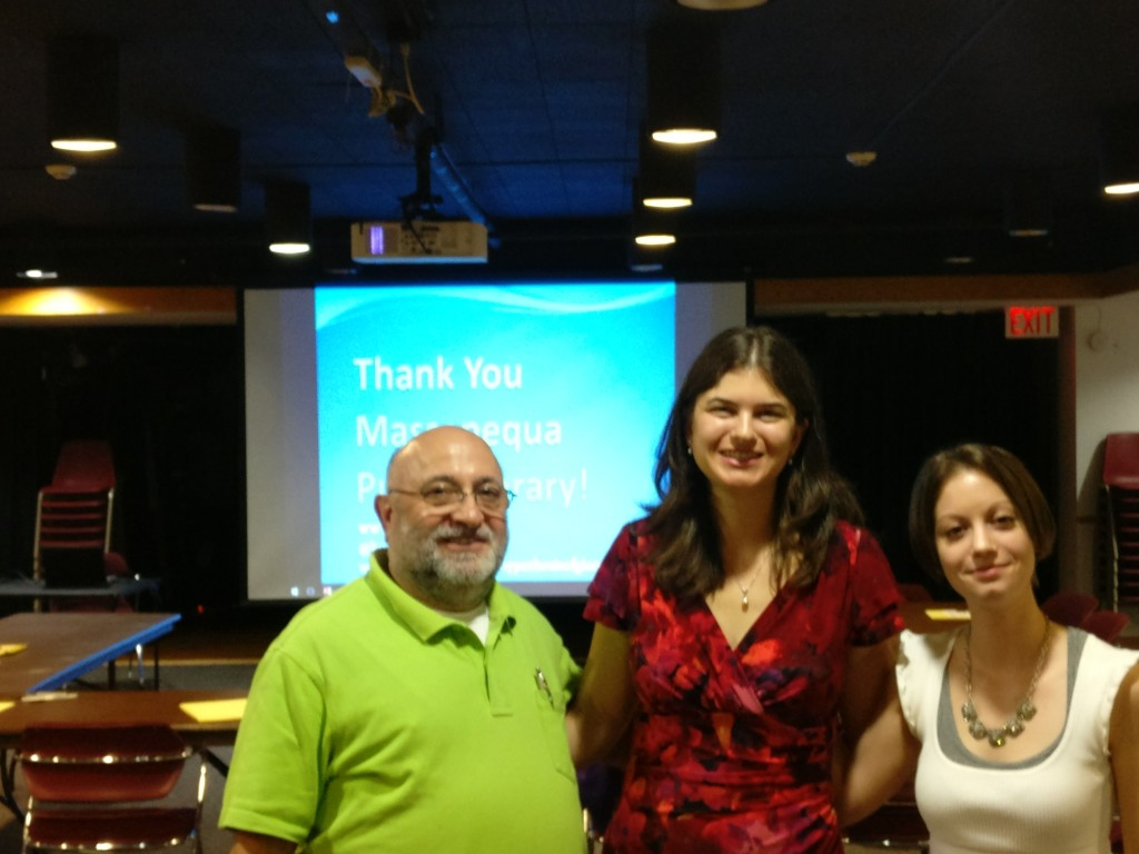 From left to right: Ira Blatt (President of the Friends of Massapequa Library), Melissa Kuch (author), and Lisa Zuena (Young Adult Librarian)